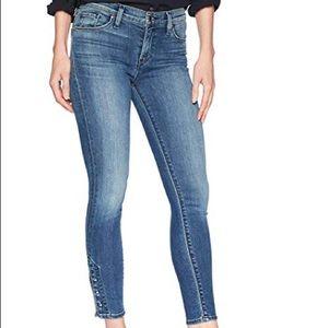 Hudson Crop Skinny Midrise Metal Detail Jeans